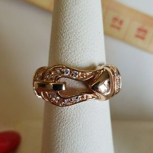 ROSE GOLD & CZ BUCKLE ring size 7